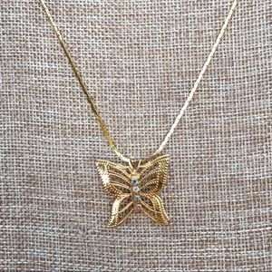 """Vintage 24"""" gold 3D Butterfly Necklace"""